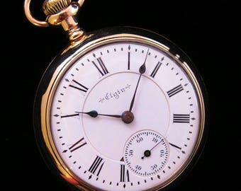 """c.1897 """"B.W. Raymond"""" Elgin Pocket Watch - 18 size - Beautiful!"""