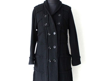 Black Boiled Double Breasted Coat Jacket Wool Coat Large Size