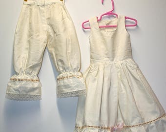 Large doll sundress and pantalooons; lace trim; ivory color; very well made; sc-02