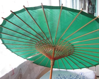 """Asian Silk Umbrella 30"""", Silk and wood Asian Umbrella, Large 1950s Parasol with Beautiful Flowers and Birds, Possibly Tea Stained"""
