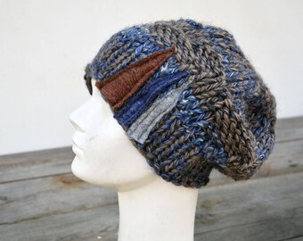 Cobalt blue big Hand knited Slouchy hat soft warm ooak unique fashion design felt decoration, fall winter beanie chunky 16