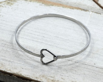 Heart Bangle Bracelet in Stainless Steel