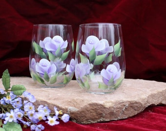 Hand Painted Stemless Wine Glasses - Lavender and White Roses  (Set of 2)