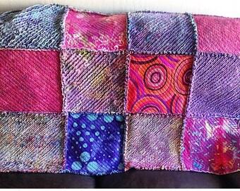 Rag Quilt throw - Blanket - Quilt - Multi color