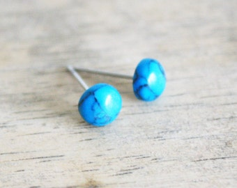 turquoise earring studs surgical steel hypoallergenic post minimalist boho bohemian style accessories natural look 6mm
