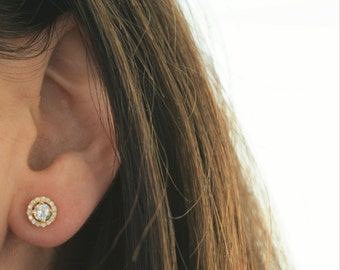 Stud earrings. Sterling silver stud earrings. Gold plated sterling silver stud earrings. Rose gold plated sterling silver stud earrings.