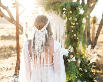 Boho wedding etsy macrame wedding veil boho wedding veil wedding headpiece wedding veil boho bride junglespirit Choice Image