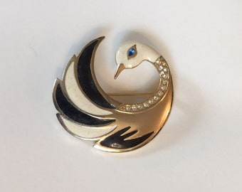 Vintage Black and White Enameled Gold Tone Stylized Retro 1960 Swan with Blue Eyes Brooch