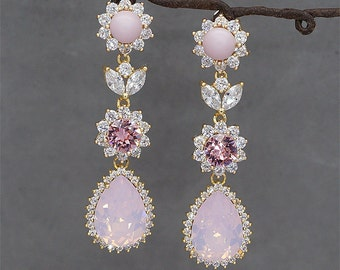 Pink Opal Earrings, Gold Bridal Earrings, Chandelier Earrings, Swarovski Crystal Jewelry for Wedding, Pink bridal Jewelry, Rose Water Opal