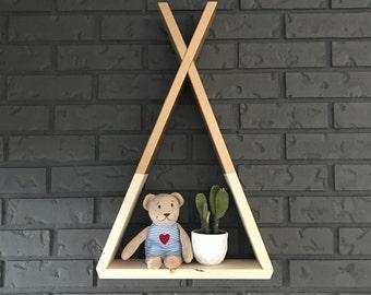 teepee shelf | modern shelf | nursery decor | hand painted | dip dye