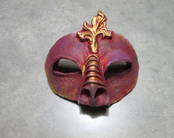 Dragon costume mask, Masquerade, mardi gras mask, dragon mask, ren faire mask, red and gold colors, labyrinth mask