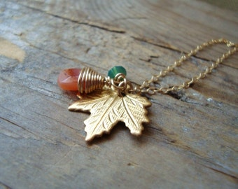 Maple Leaf Necklace with Carnelian Brass Jewelry Bridesmaid Jewelry Woodland Nature Fall Fashion Fall Weddings Leaf Jewelry