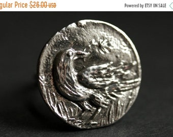 MOTHERS DAY SALE Gothic Raven Ring. Crow Ring. Pewter Button Ring. Bird Ring. Adjustable Ring. Silver RIng. Handmade Ring. Pewter Ring. Hand