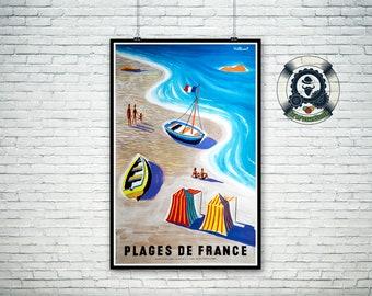 french vintage travel poster-1955-Villemot Bernard - beaches of FRANCE - art poster print-holiday