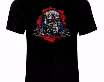 Inspired By Terminator Arnold Schwarzenegger Cyborg Movie T-Shirt