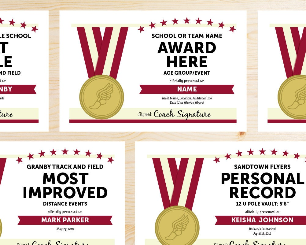 Editable track and field award certificates instant download zoom alramifo Image collections