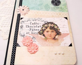 Altered Composition Book - French Vintage Journal - Pastel Notebook - Romantic Angel Notebook - Shabby Chic Journal - Soft Colors