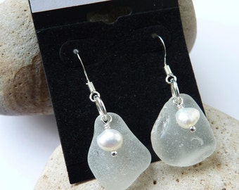 Scottish Arran Sea Glass & Freshwater Pearl Earrings