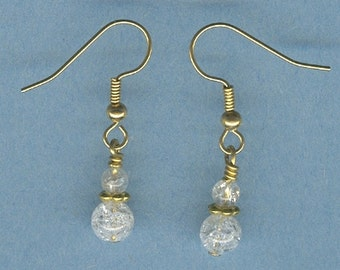 White Ice Flake Quartz  Gemstone Earrings