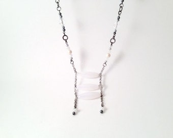 Long Necklace // Ladder Necklace // White And Gray Beaded Necklace // Tribal Necklace