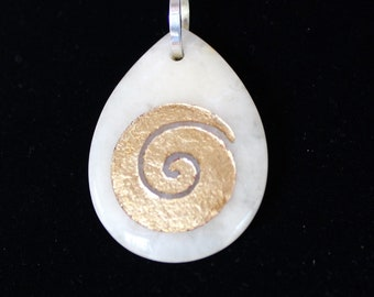 "1 White jade necklace, pendant, 1.7/8"" X 1/2"" with hand carved spiral symbol"