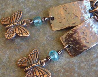 Copper Earrings Butterfly Charms Blue Kyanite Gemstone On Sale