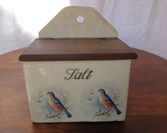 Vintage Porcelain Salt Box With Birds