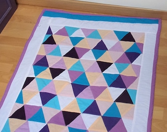 graphic in pastel colors - Scandinavian style patchwork baby blanket