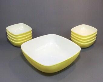 9pcs. Pyrex Ovenware Salad Set Yellow & White