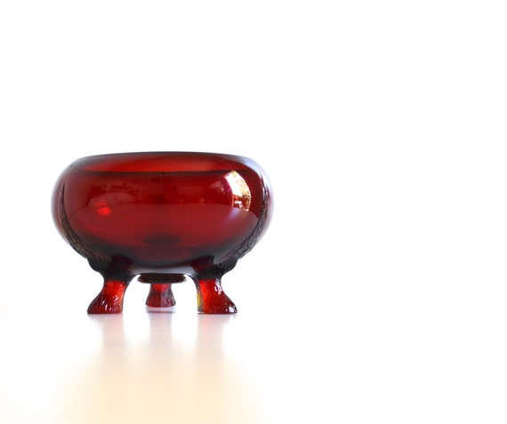 Vintage Round Ruby Red Glass Footed Bowl
