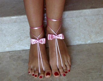 Free Shipping handmade barefoot sandals pink bow sandals weddings jewelry gift