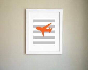 Orange Airplane Printable Wall Art, Nursery Printable, Child Wall Art, Airplane Printable, Printable Art, Nursery Art, Instant Download