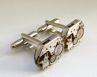 Steampunk Cufflinks vintage watch movements Industrial cufflinks best man cufflinks Geek cufflinks Mens jewellery Gift for Him Birthday gift