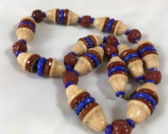 Rare Antique Czech Bohemia Pressed Glass Bead Choker Necklace