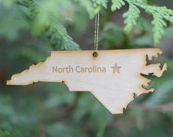 Natural Wood North Carolina State Ornament