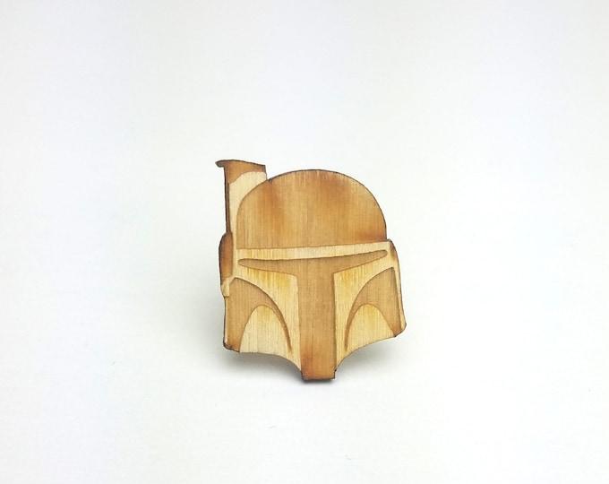 Boba Fett Pin | Laser Cut Jewelry | Wood Accessories | Wood Pin | Handmade Pin |