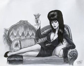"Elvira, Mistress of the Dark | 8.5""x11"" Inked Drawing | **Original Hand Drawn Art**"