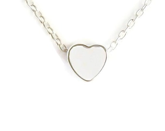 Tiny heart charm necklace, silver heart necklace, sterling silver chain, delicate jewelry