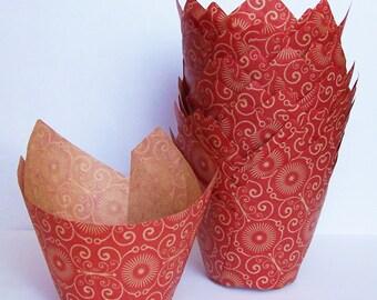 24 Mariposa Red Tulip Cupcake Liners
