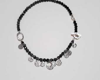Faceted Snowflake Obsidian with beaten sterling silver necklace.