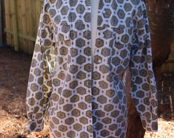 Vintage 80s 1980s Ilio Funky Abstract Print Long Sleeve Button Down Shirt