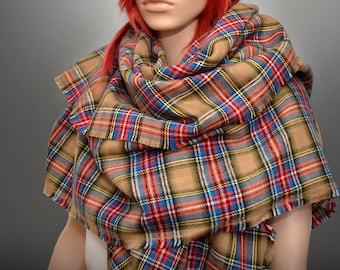 Plaid Oversized Blanket Scarf Multi-Colored Tartan Scarf, Plaid Scarf, Fall Scarf, Popular Scarf, Trending Fashion, BLANKET SCARF,HUGE scarf