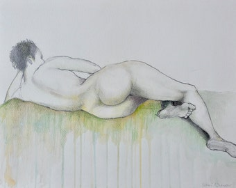 Original Life Drawing 10, Reclining woman, Pencil, Nude Sketch, Dessin, Art, Water color, Hand made, Modern, Abstract, colour, realistic