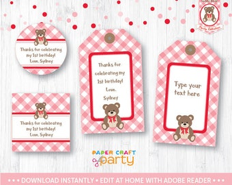Teddy Bear Picnic Gift Tags, Printable Teddy Bear Hanging Gift Tags, Favor Tags, Pink & Red, Instant Downloading Edit and Adobe Reader TB12