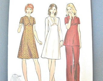 Spring Sale Uncut 70s Butterick 6846 Vintage Sewing Pattern A-line dress or tunic has split jewel neckline  Bust 39