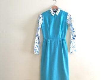 Vintage Turquoise Jumper Dress // Secretary Dress // Retro Sheath  - 1960s