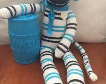 Blue & White Striped Sock Monkey
