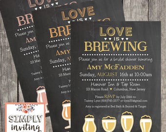 Love is Brewing Bridal Shower Invitations / Printed Pub Shower Invites / Brewery Bridal Shower Cards / Chalkboard Bridal Shower Invites