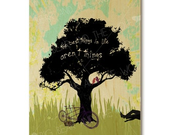 """Inspirational wedding art print on wood, """"The best things in life aren't things"""""""