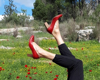 Women's Leather Shoes, Pumps Shoes, Red Pumps, Heels, Leather Pumps, High Heels, Slip On Shoes, Elegant Shoes, Chunky Heels, Snakeskin Shoes